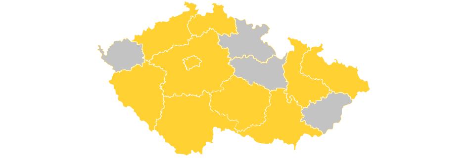 Mapa krajů, kde ČSNS kandiduje ve volbách do PSP ČR 2017.